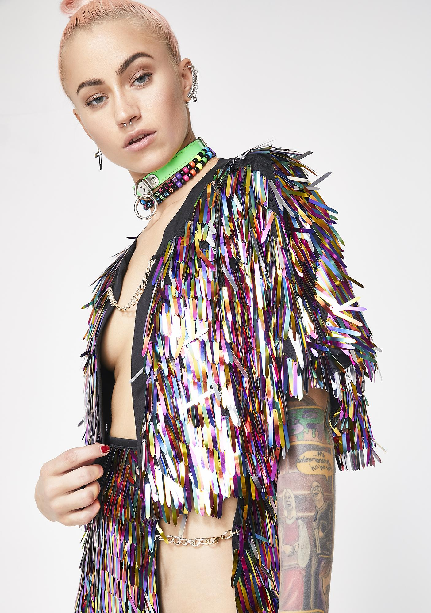 40f96926c Jaded London Rainbow Sequin Spike Cape | Dolls Kill
