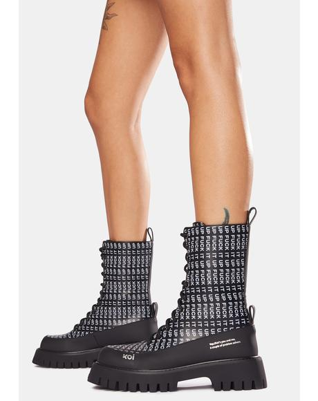 Black F It Up Military Boots
