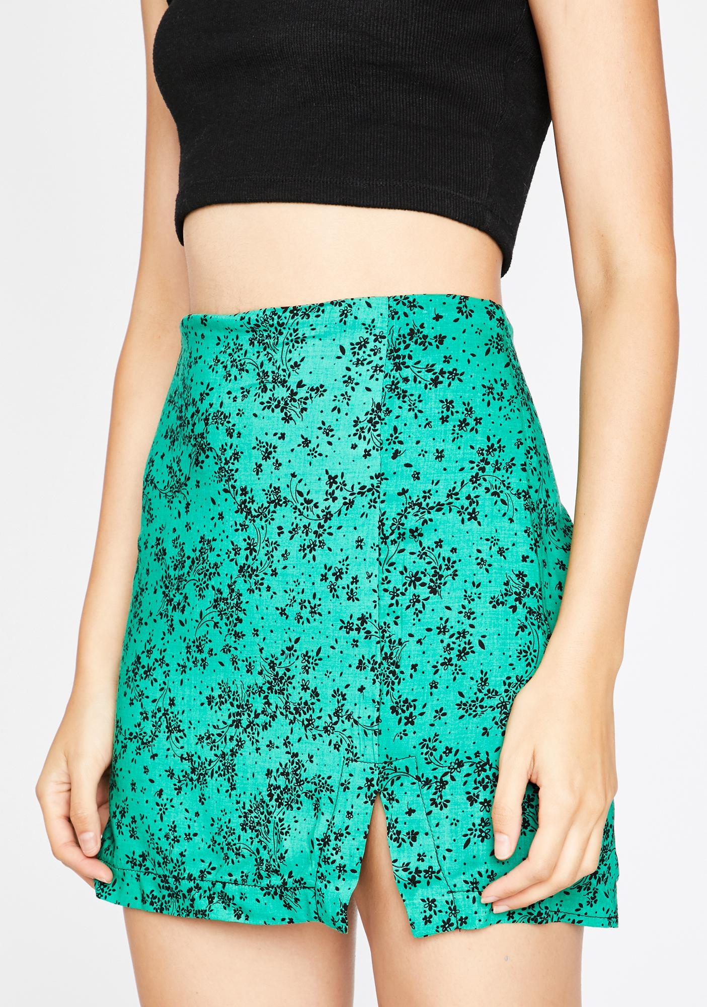 Emerald Baddie In Bloom Floral Skirt