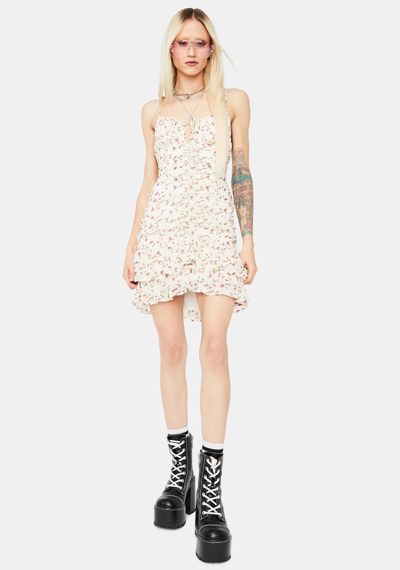 Ivory Secret's Out Floral Mini Dress
