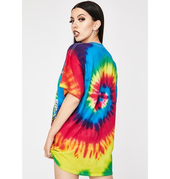 Diamond Supply Co Rainbow Skull And Crow Tie Dye Graphic Tee