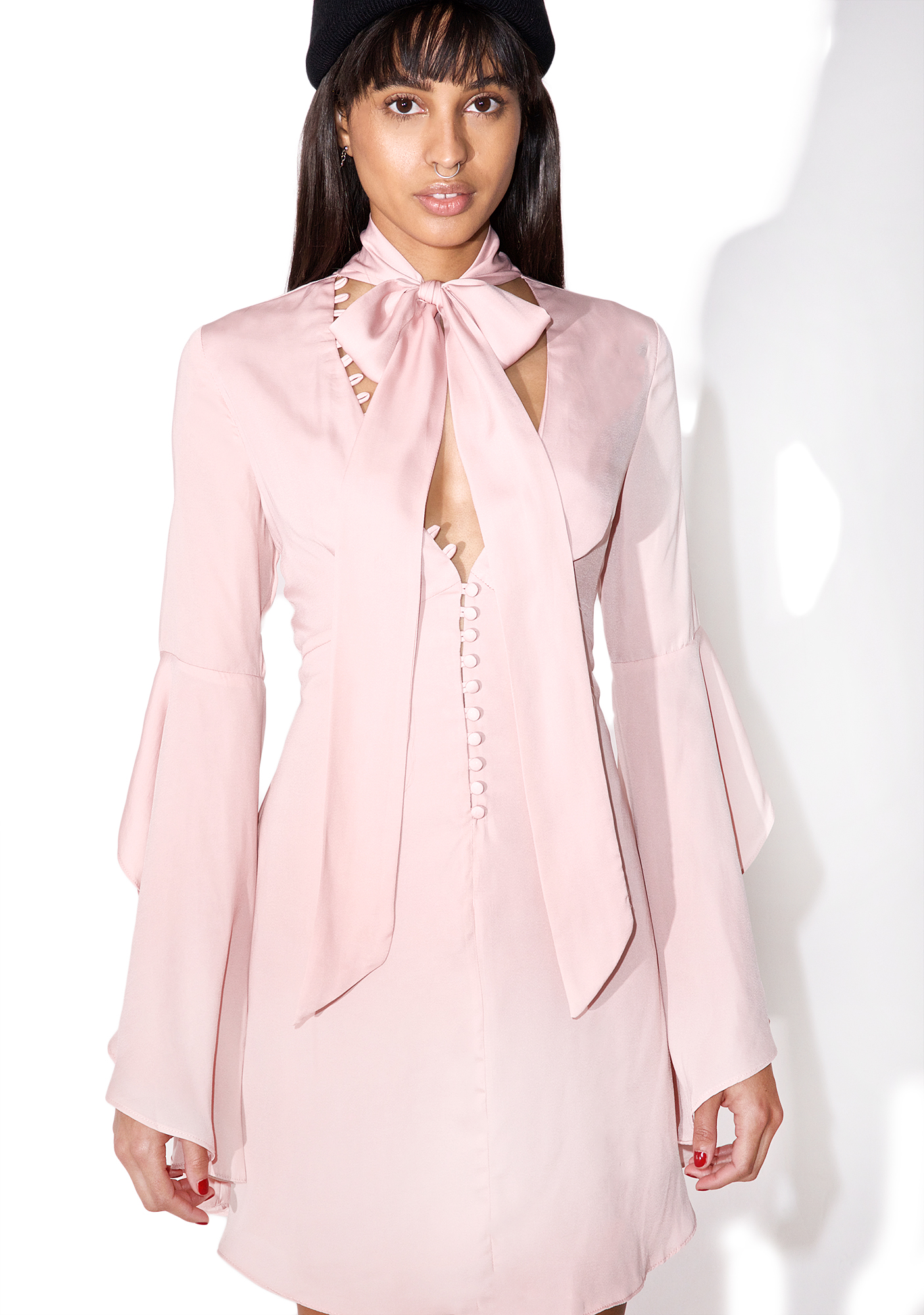 Blush Boho Bell Sleeve Mini Dress