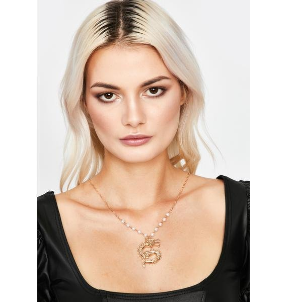 Gilded Fierce Mentality Dragon Necklace