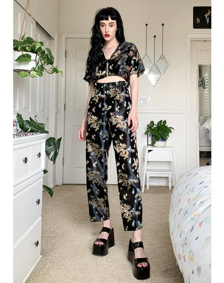 Black Dragon Wide Leg Pants