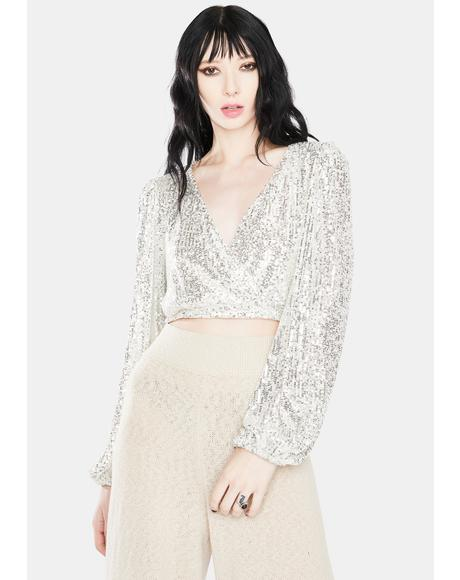 Icy Sparkles And Sass Sequin Crop Top
