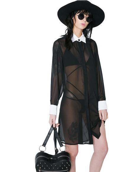 Wednesday Chiffon Shirt Dress