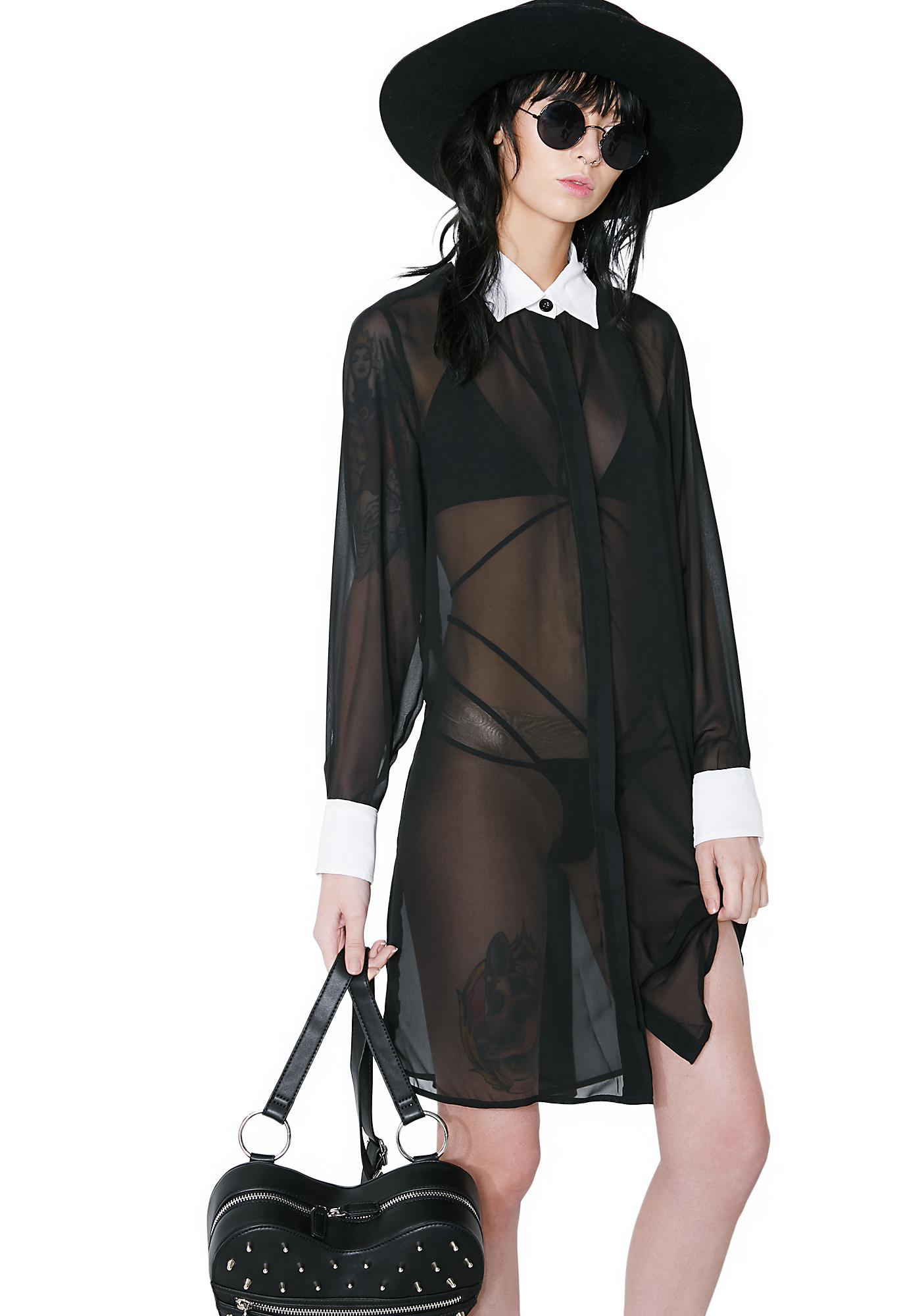 Killstar Wednesday Chiffon Shirt Dress