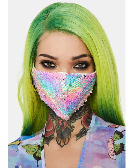 Rainbow Mermaid Sequin Face Mask