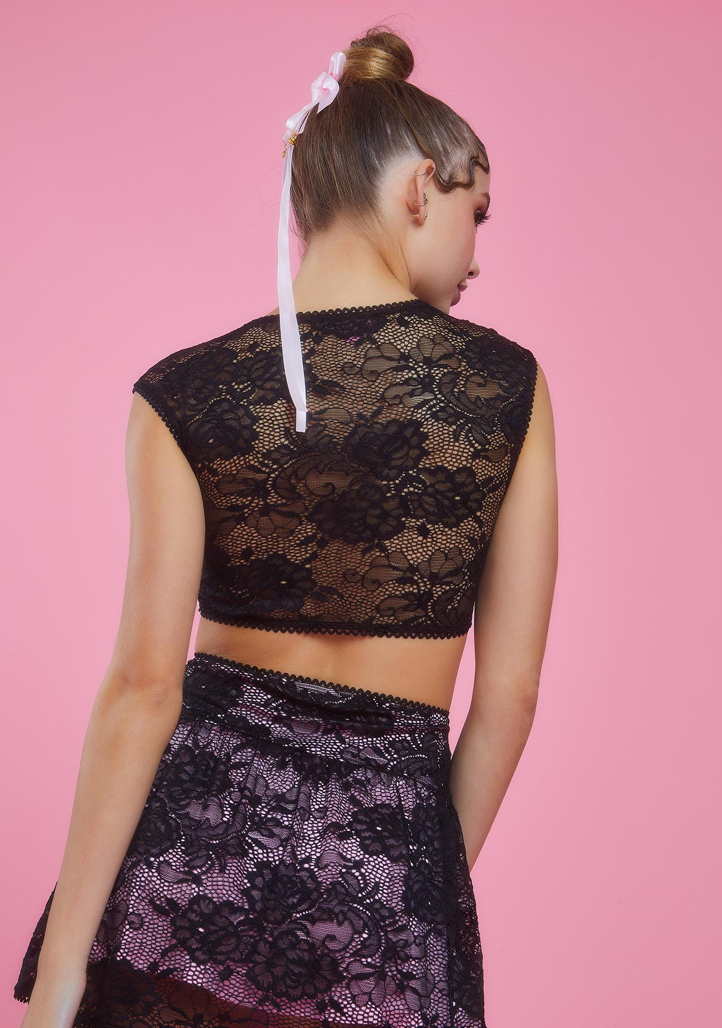 Sugar Thrillz Grace In Lace Satin Bow Crop Top