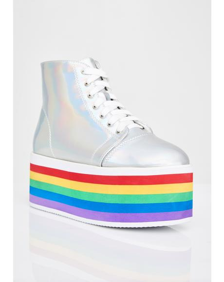 Chrome Rainbow Rebellion Platform Sneakers
