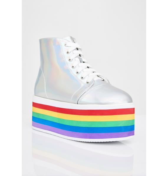 Chrome Rainbow Rebellion Platform Sneakers