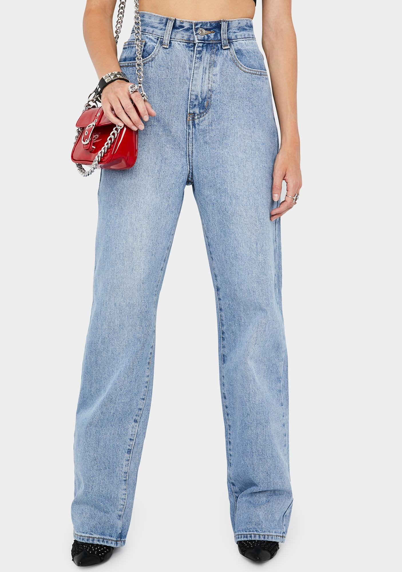 Momokrom Mid Blue Loose Fit Straight Leg Jeans