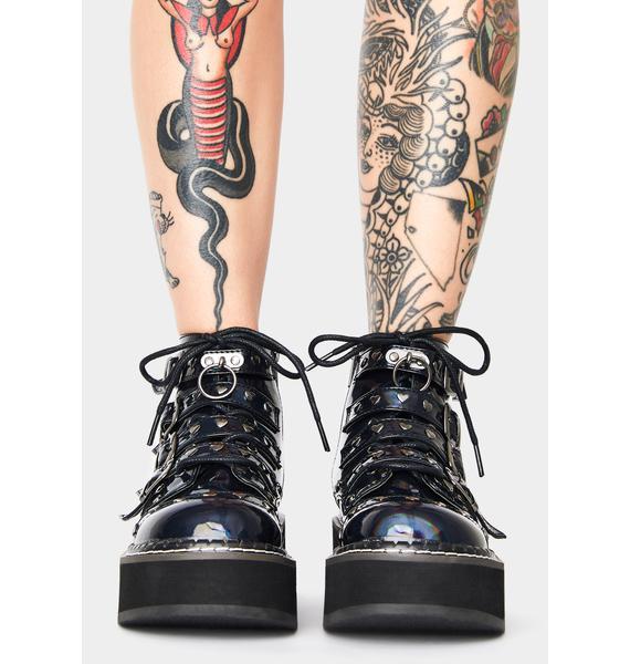 Demonia Digital Desire Buckle Boots