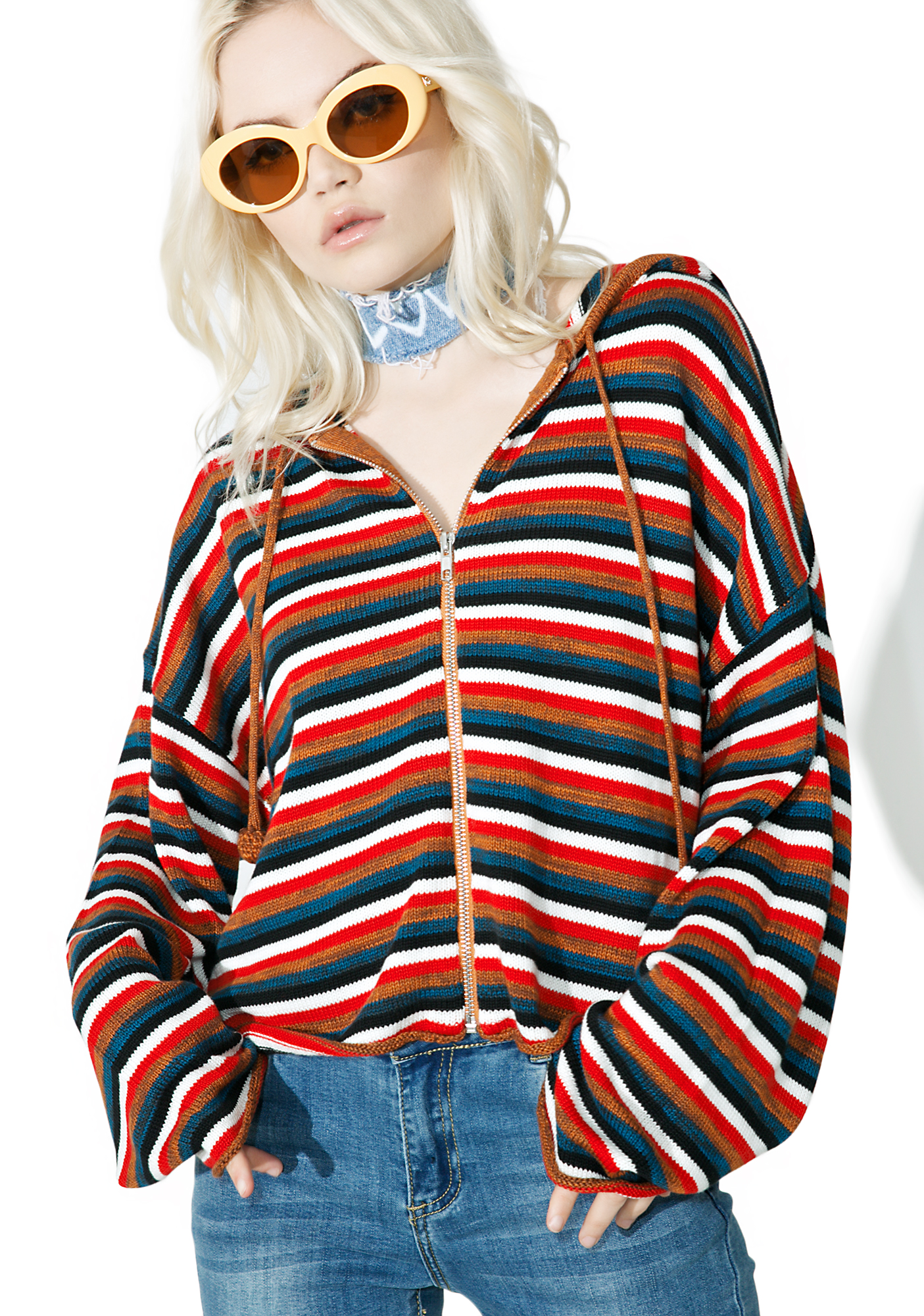 Cropped Stripe Zip Up Hoodie