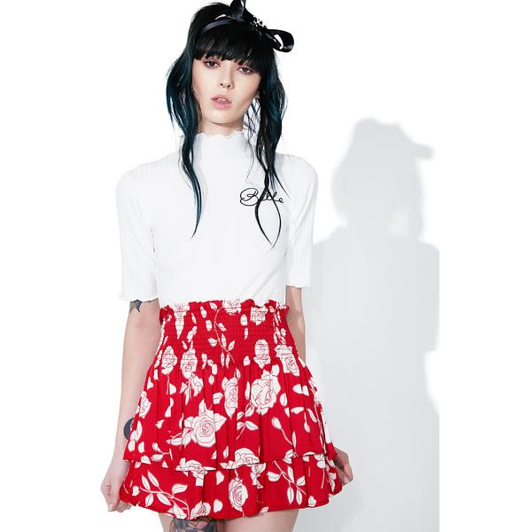 Mink Pink Enchanted Rose Mini Skirt