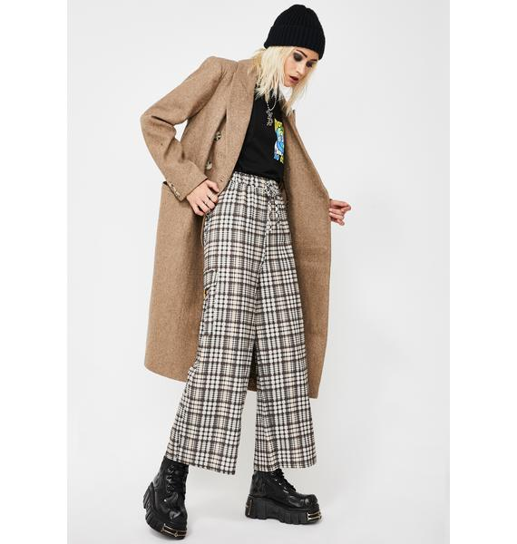 NEW GIRL ORDER Check Print Wide Leg Trousers
