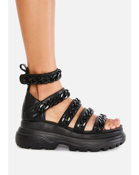 Strident Chain Gladiator Sandals