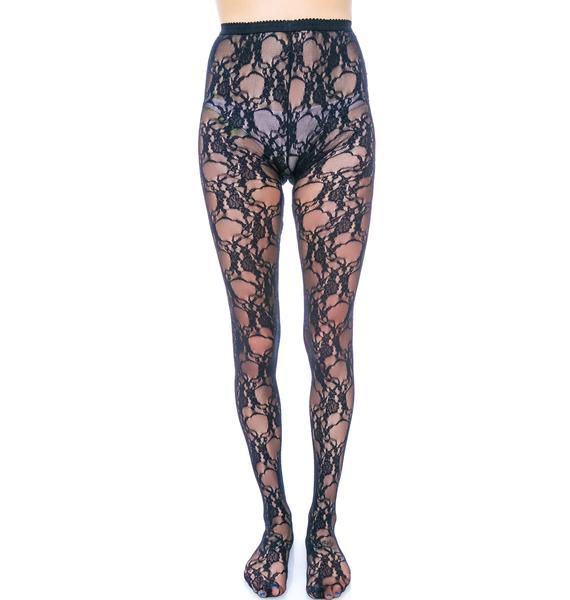 Fancy Floral Lace Pantyhose
