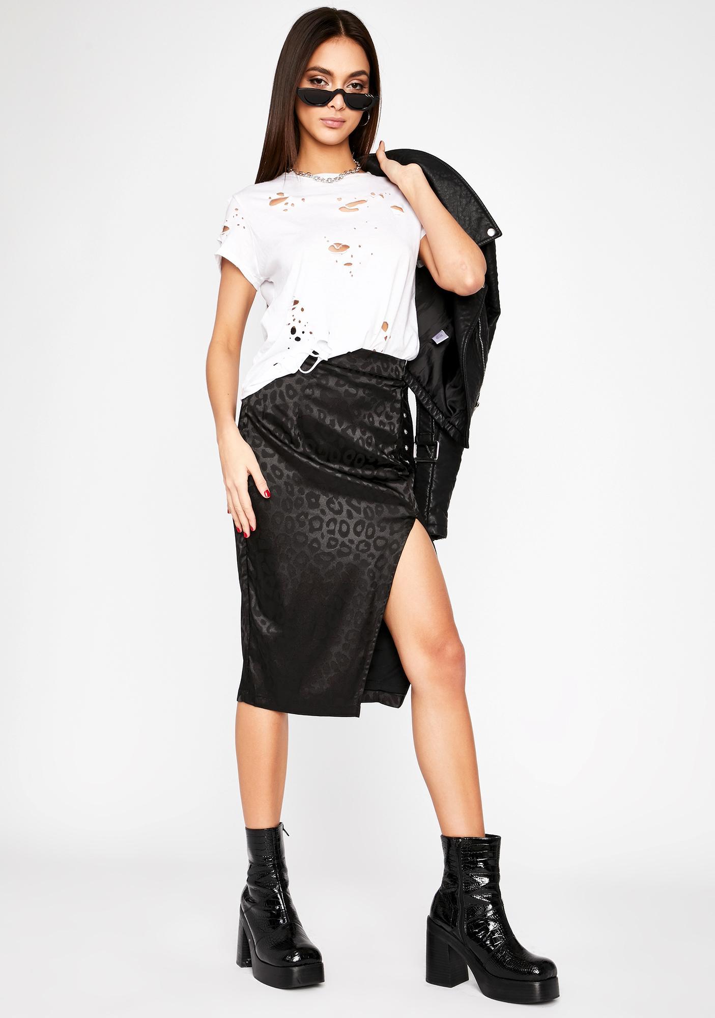 Onyx Silky Silent Stalker Midi Skirt