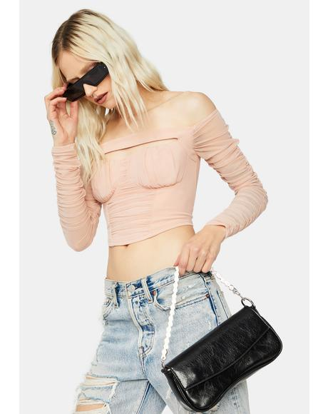 Blush Make My Move Ruched Mesh Crop Top