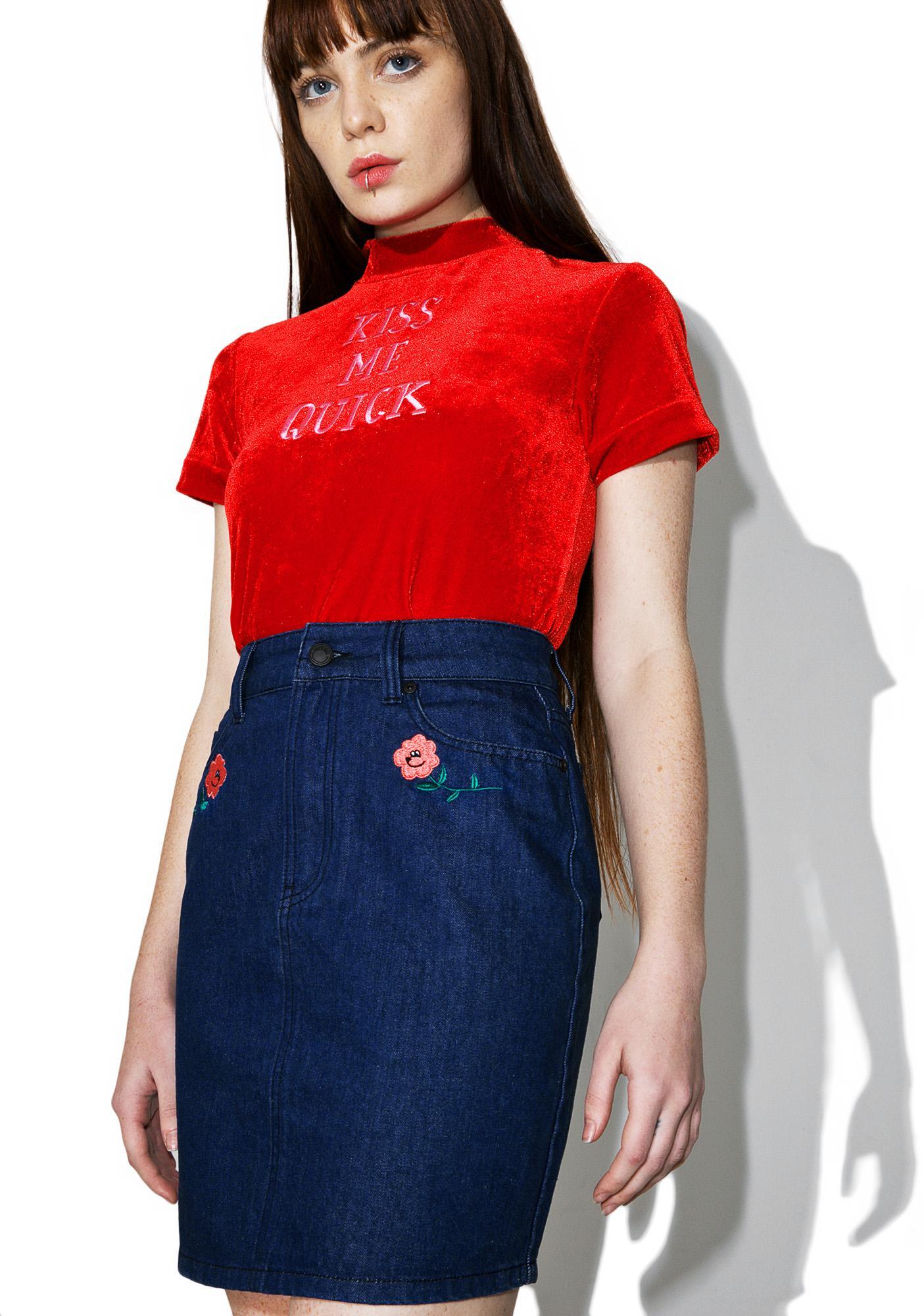 Lazy Oaf Rose Denim Skirt