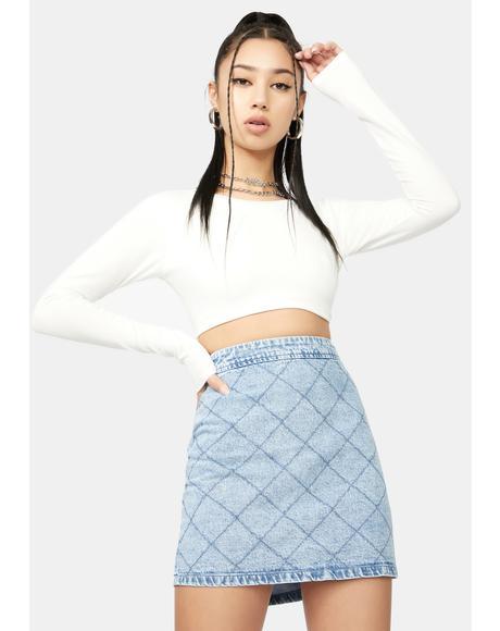 Brunch Calling Cross Denim Mini Skirt