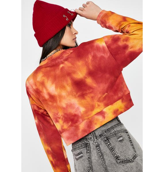 Fire In The Mix Crop Sweatshirt