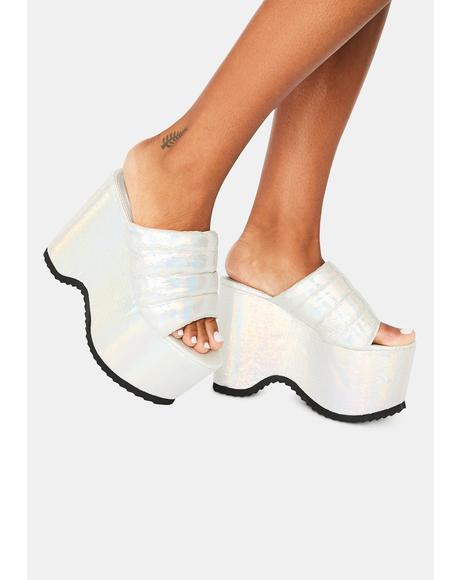 White Manolya Platform Sandals