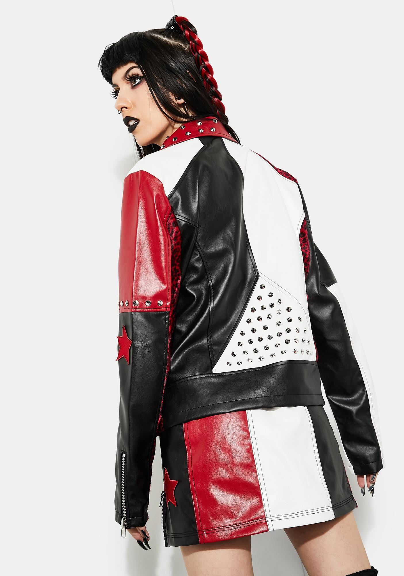 Current Mood Misery Business Color Block Moto Jacket
