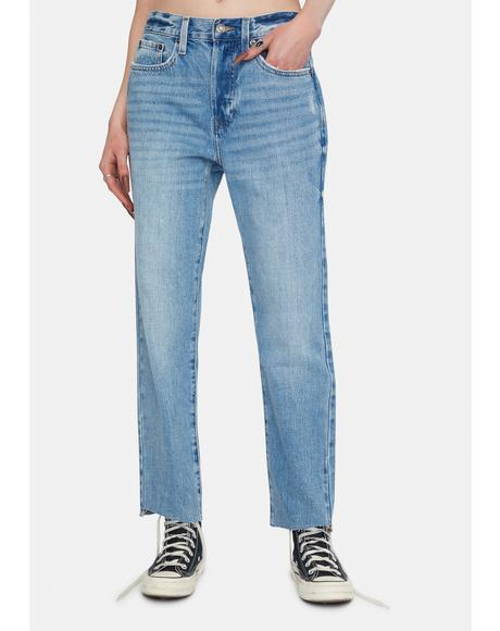 Charlie High Rise Straight Leg Denim Jeans