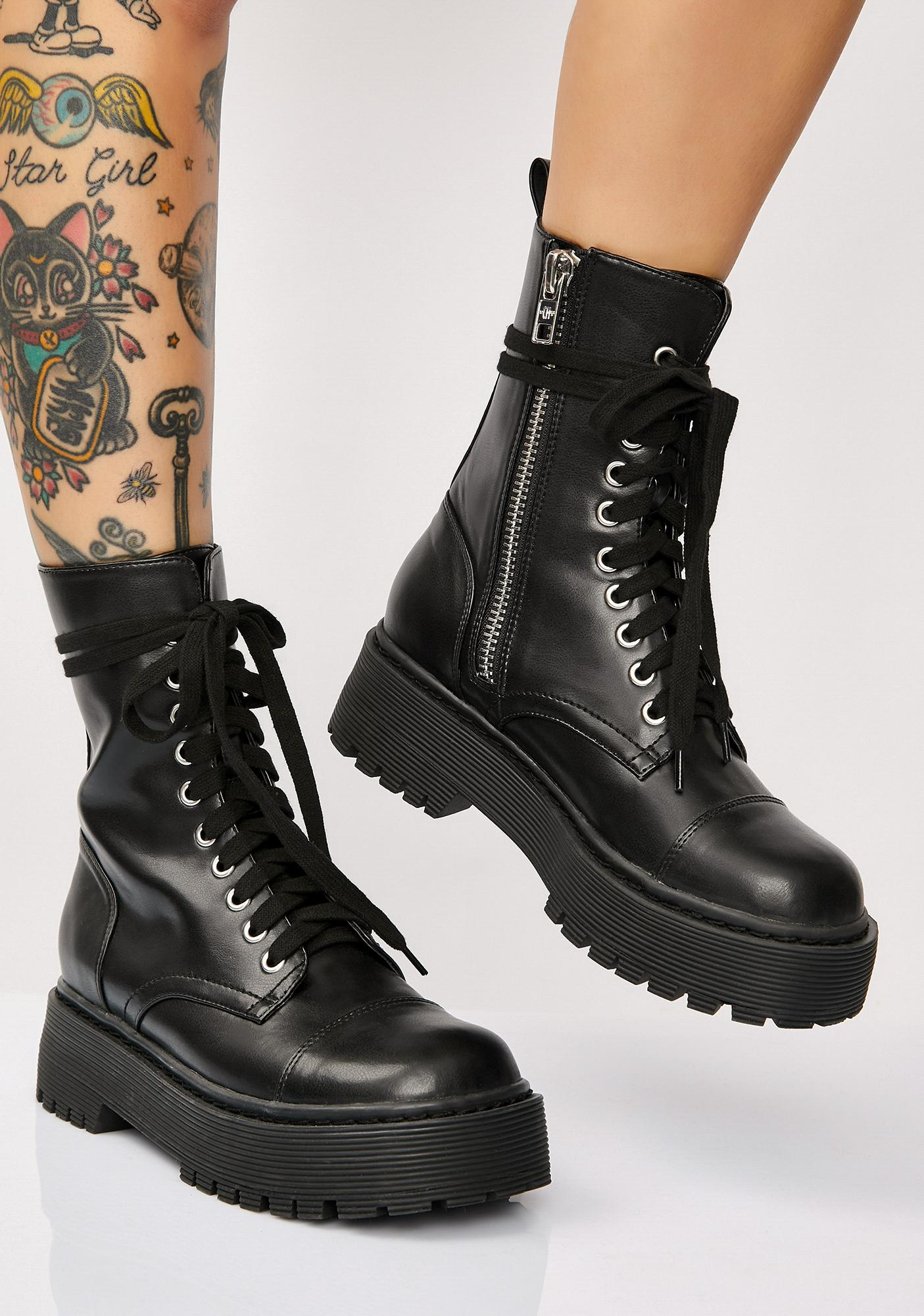 7b4001ef70afe5 Current Mood Karma Police Combat Boots | Dolls Kill