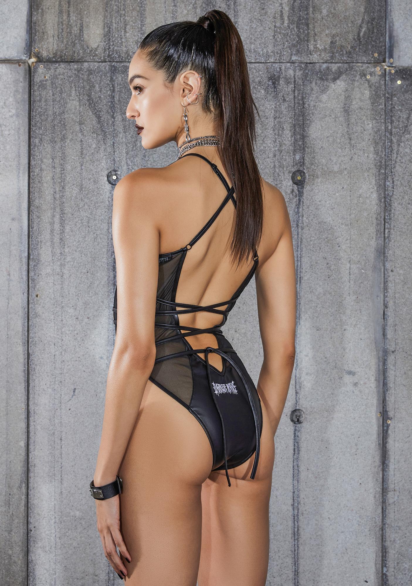 DARKER WAVS Snare Strappy Mesh Wrap Tie Bodysuit