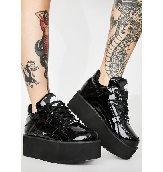 Buffalo London Rising Tower Cuir Verni Noir Patent Sneakers