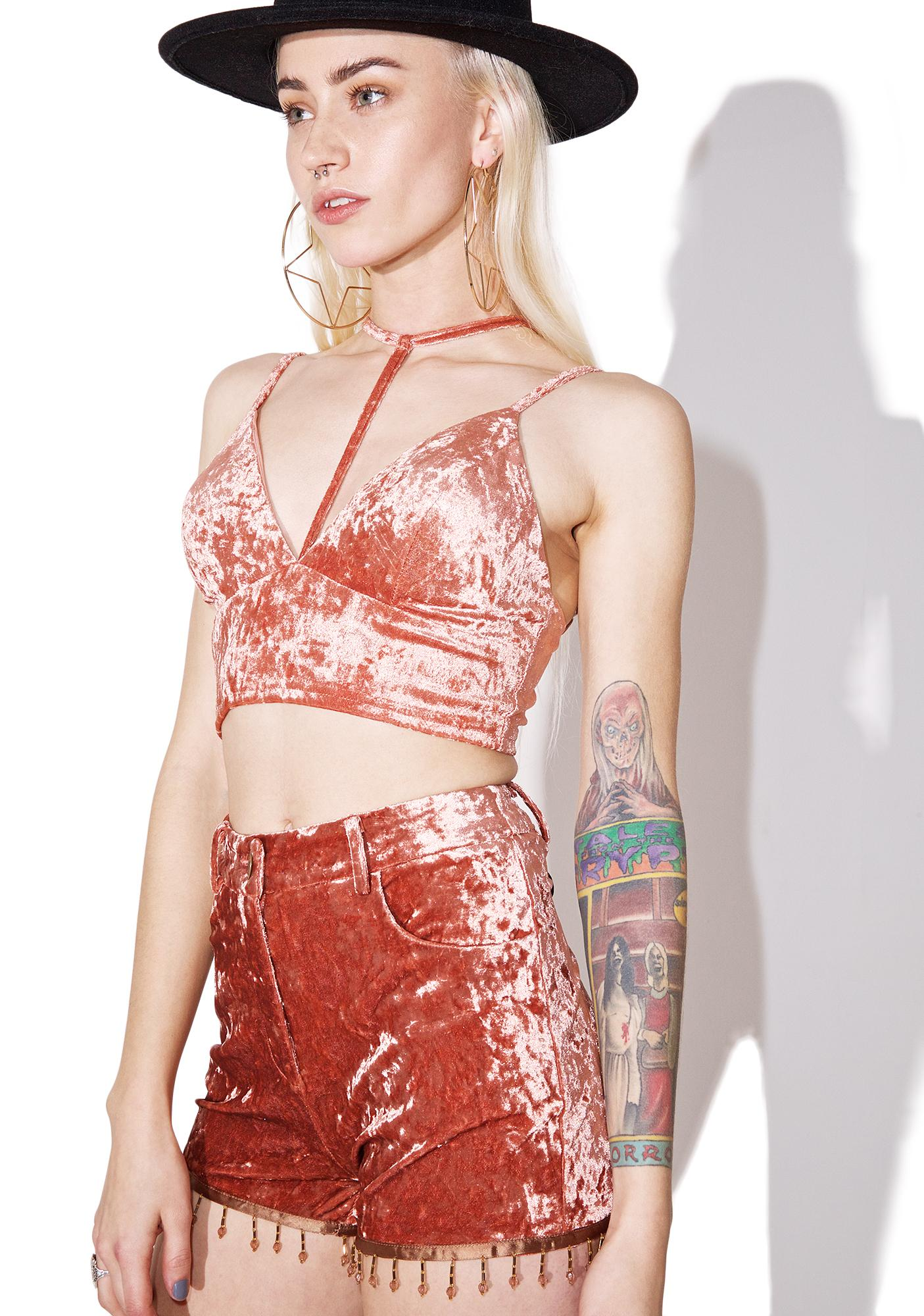 As I Am Lucky Penny Crushed Velvet Crop Top