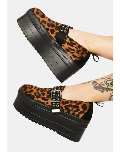 Cheeky Cheetah Chunky Flatform Sneakers