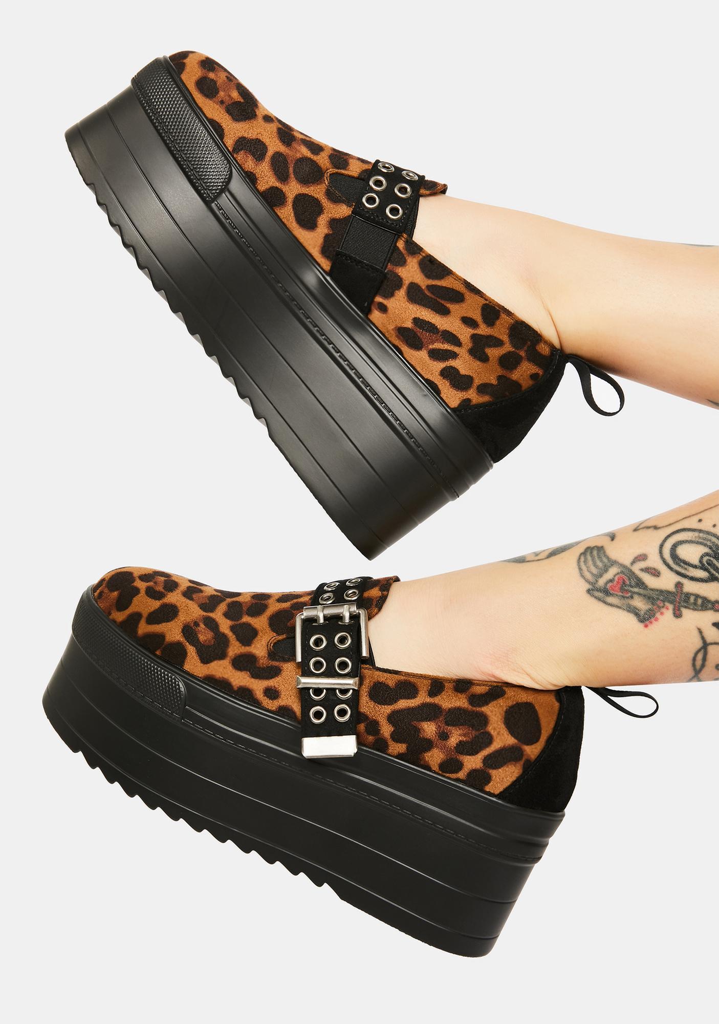 Lamoda Cheeky Cheetah Chunky Flatform Sneakers