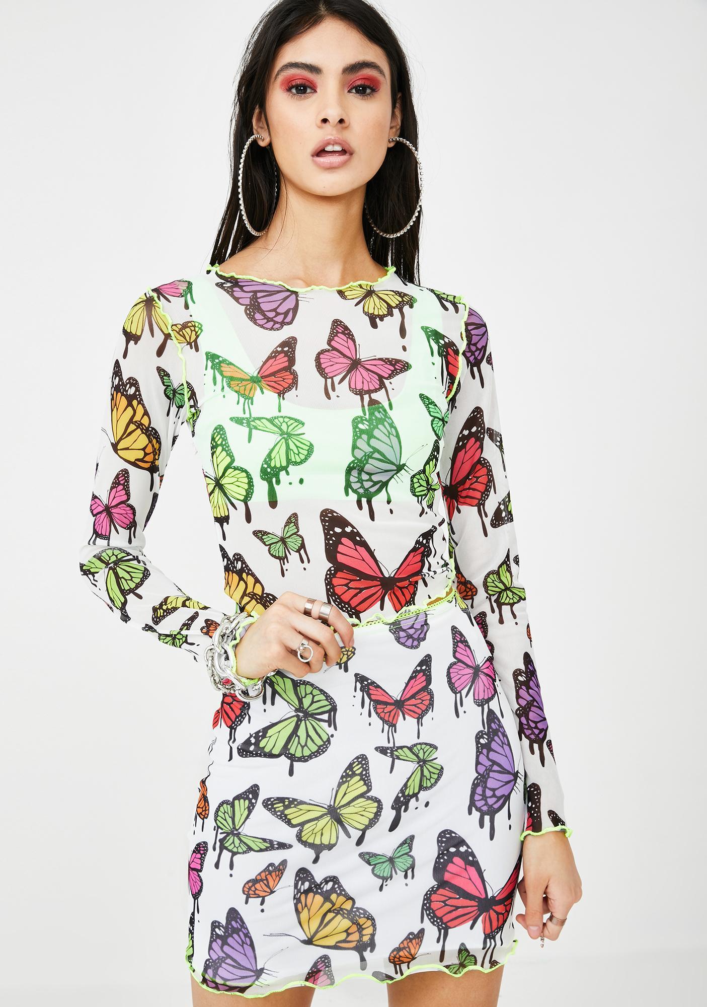 Jaded London White Mesh Butterfly Print Crop Top