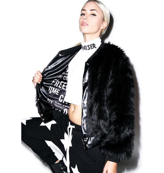 Civil Clothing Sharon Faux Fur Bomber Jacket