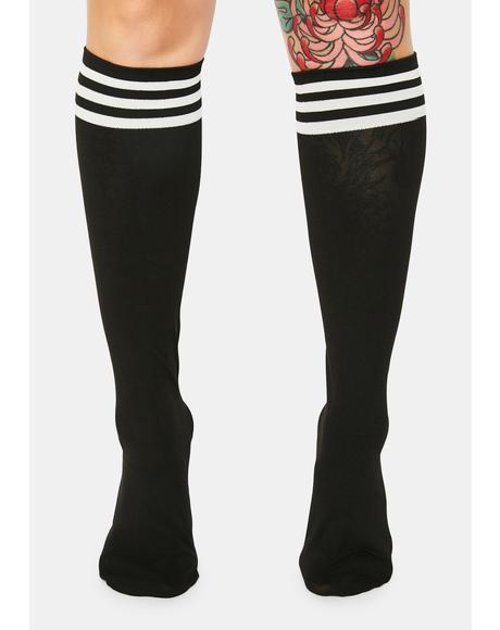 Dark Sporty Sass Stripe Knee High Socks