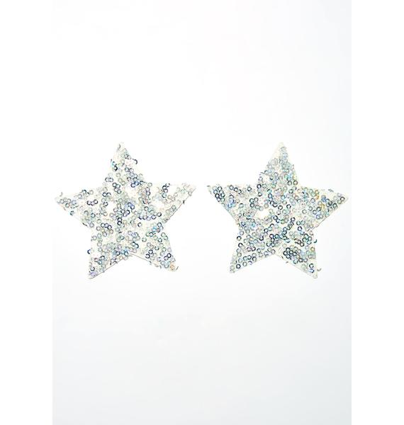 Neva Nude Silver Sequin Star Pasties