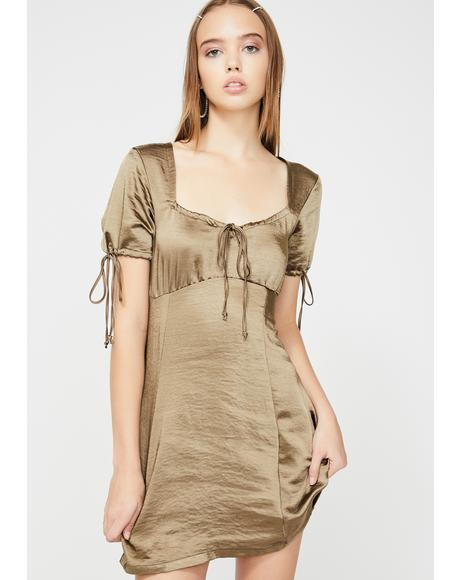 Khaki Guenette Satin Dress