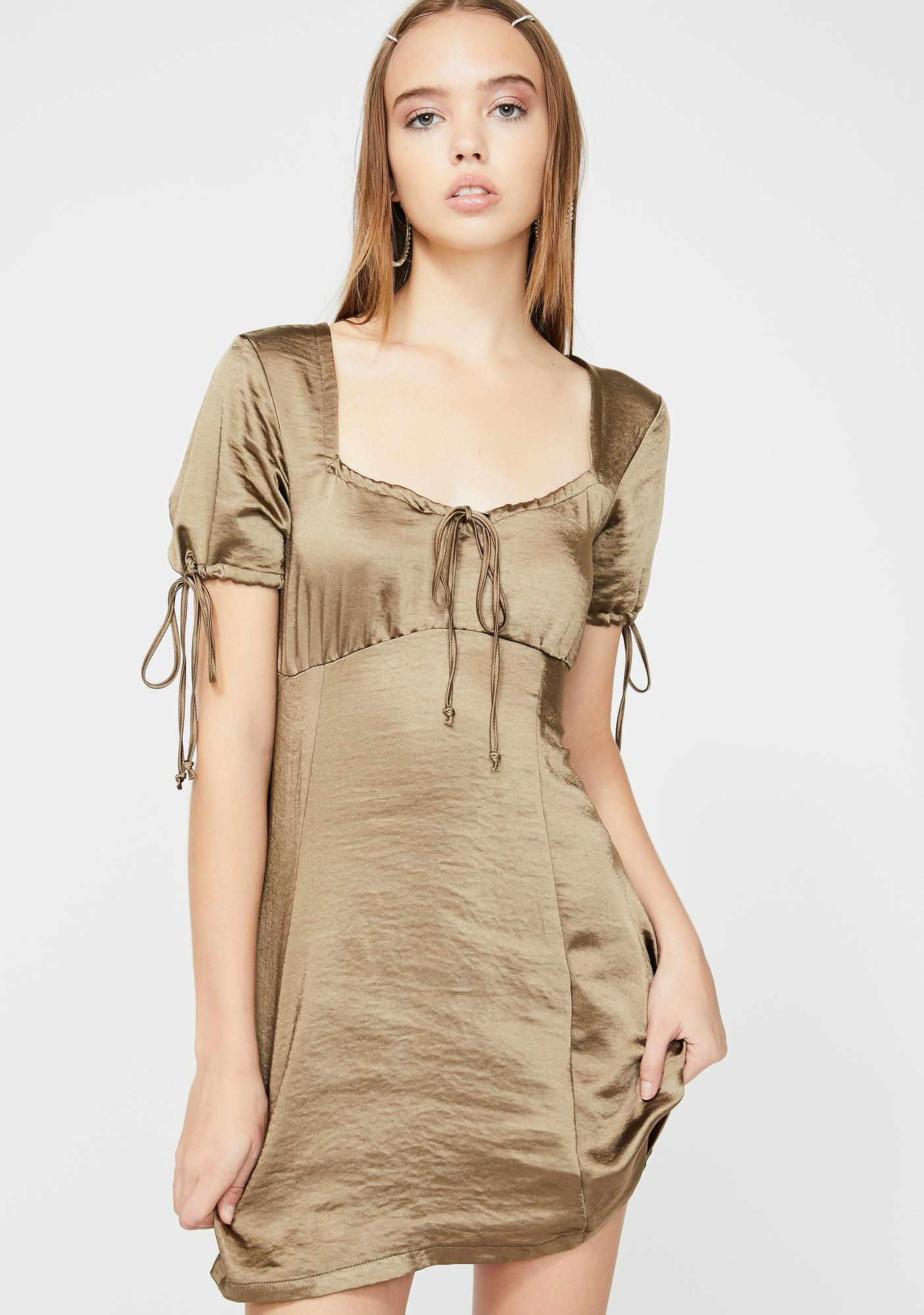 Motel Khaki Guenette Satin Dress