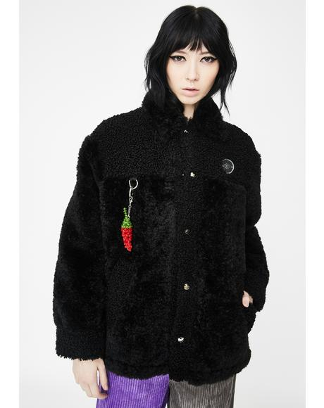 Black Duo Fluff Sherpa Jacket