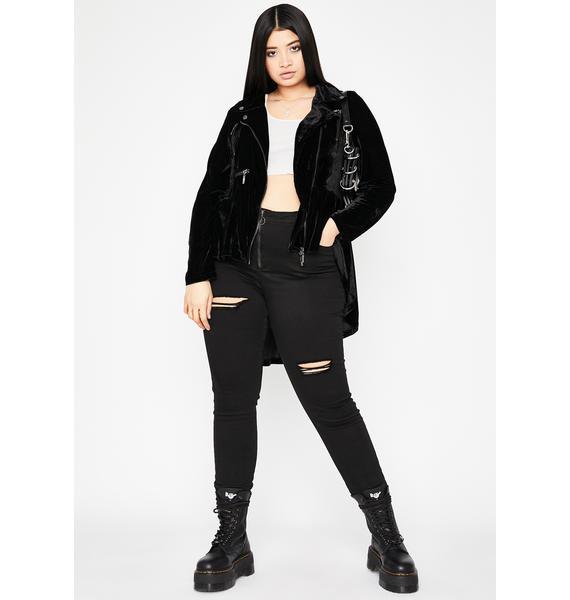 Got Highs N' Lows Velvet Moto Jacket