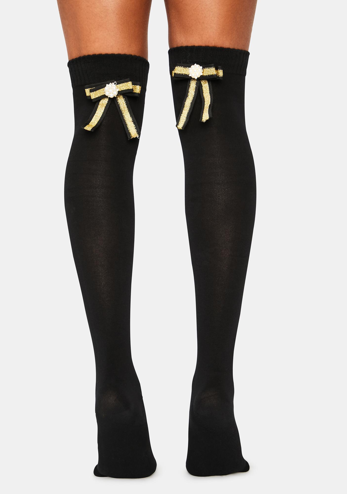 MeMoi Golden Bow Over The Knee Socks
