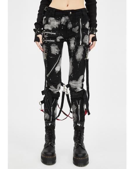 Bleach And Stud Bondage Pants