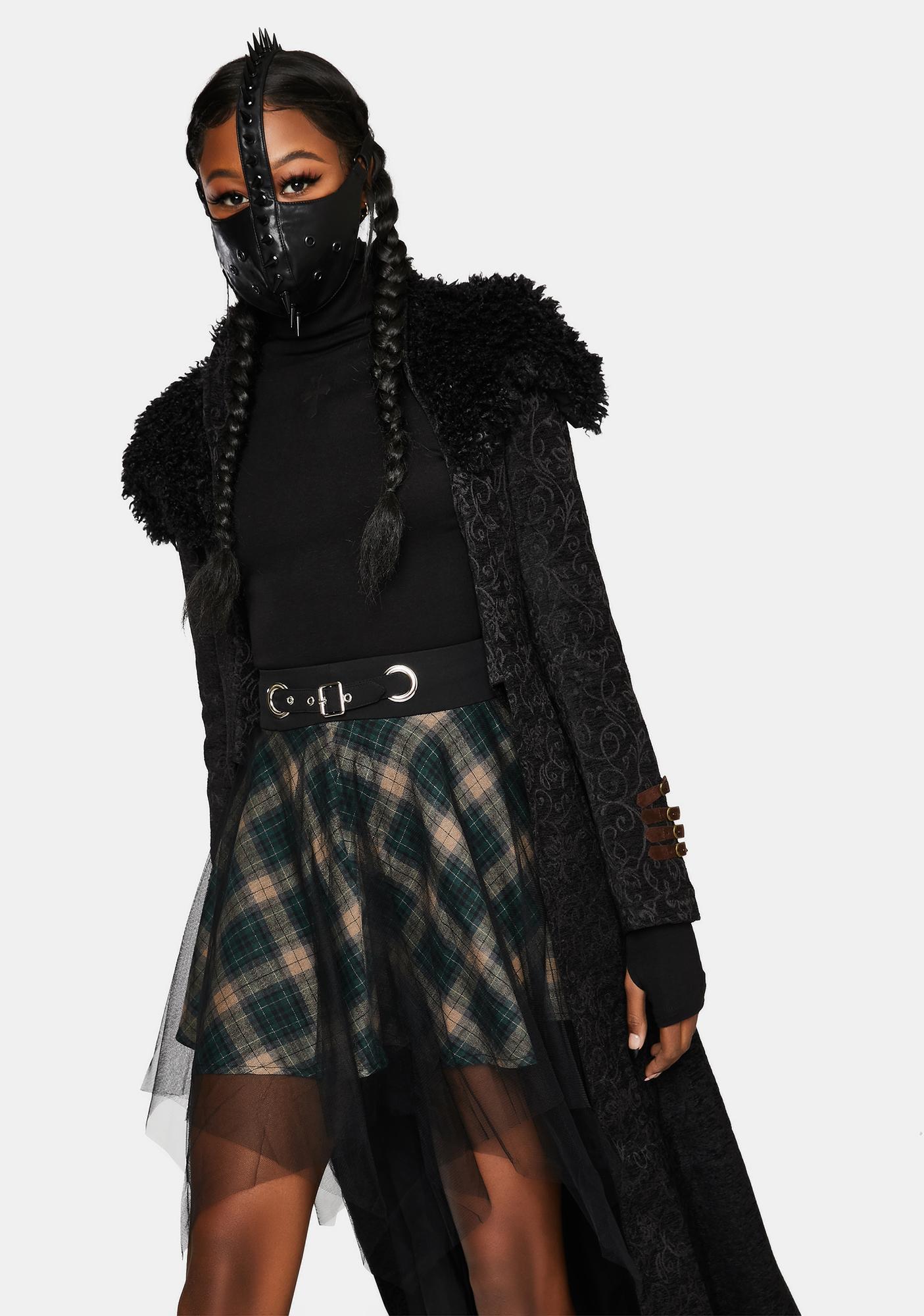 Punk Rave Plaid Mesh Skirt