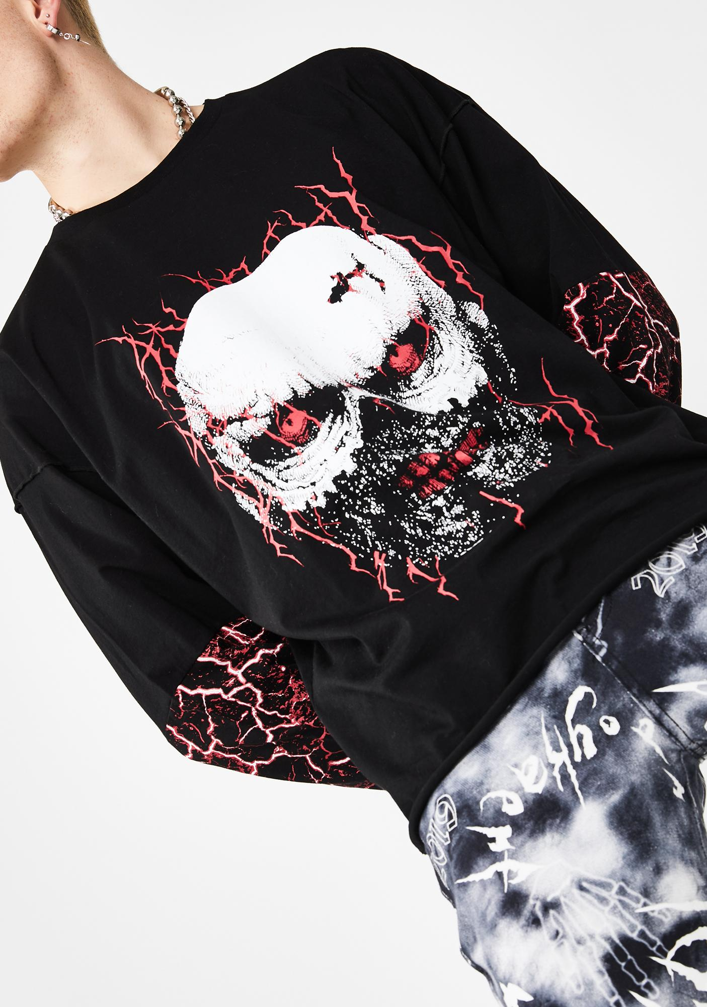 Jaded London Lightning Skull Print Long Sleeve Tee