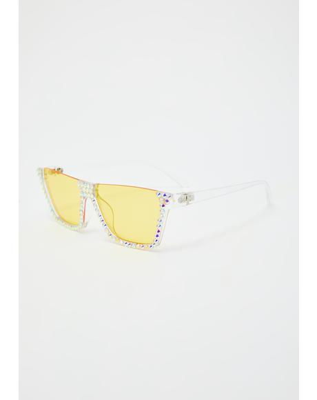 Zesty Eyes On The Prize Rhinestone Sunglasses