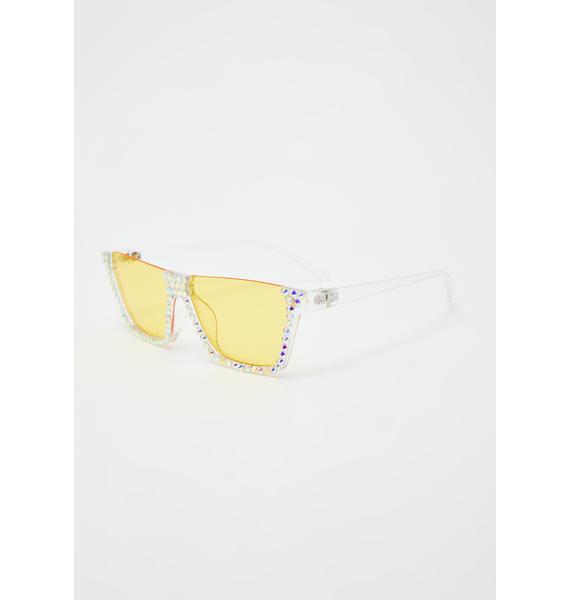 Zesty Eyes On The Prize Rhinestone Sunglasses